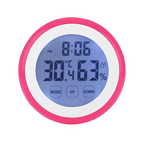 Enjoy Best Time Digital Weather Station Wall Clock With Indoor Thermometer Humidity Mini Size Touch Screen Thermometer Hygrometer Loud Alarm Clocks For Kids Pink