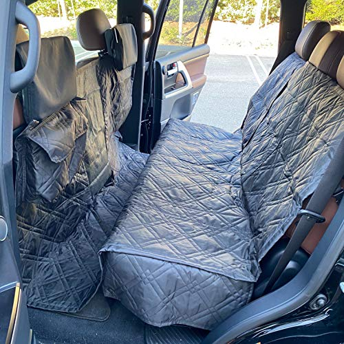 "Formosa Covers Deluxe Quilted And Padded Dog Car Back Seat Cover With Non Slip Back Best For Car Truck And Suv Travel With Your Pet Mess Free Universal Fit 56""x94"", Black"