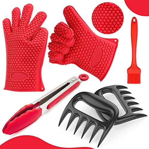 Heat Resistant Bbq Gloves Meat Shredder Claws|your Best Buyz|pulled Pork Shredder Claws (4pc Combo Set):silicone Bbq Gloves,bear Claws,basting Brush,bbq Tongs|cooking, Grilling,smoker,outdoor & Indoor