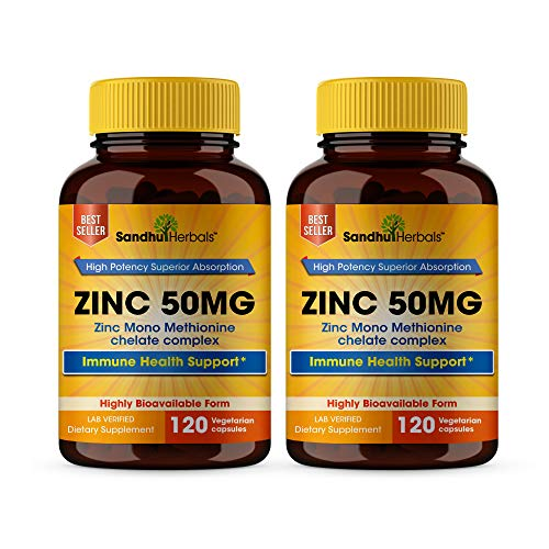 High Potency Zinc 50mg Highly Absorbable Immune Support Booster, Best Zinc For Adults Zinc Pills Offer High Potency Alternative To Lozenge, Chewable Tablets, Liquid(8 Month Supply) 2 Pack