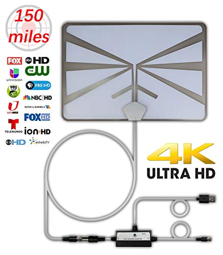 Htv 4k Hdtv Tv Antenna 150 Miles Range Indoor Digital Tv Antennas With Signal Amplifier Booster Support 4k 1080p 16ft Coaxial Cable Uhf Vhf, Tv Antennas For Digital Tv Indoor, Best One 2019 White