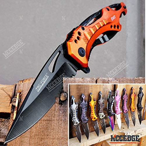 Kccedge Best Cutlery Source Survival Kit Pocket Knife Camping Accessories Razor Sharp 5 In 1 Multi Tool Knife Survival Folding Knife Camping Gear Edc 54436 (emt Orange)