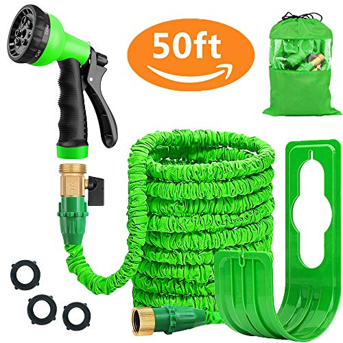 Liwiner Expandable Garden Hose Pipe Lightweight,durable& Felxible Bonus 8 Function Spray Gun/hose Hanger/storage Bag/brass Fittings,best Choice For Watering And Washing (50ft Green)
