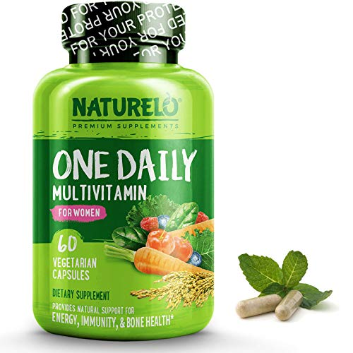 Naturelo One Daily Multivitamin For Women Best For Hair, Skin, Nails Natural Energy Support Whole Food Supplement Non Gmo No Soy Gluten Free 60 Capsules | 2 Month Supply