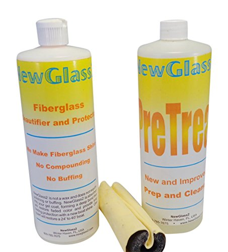 New Glass 2 Fiberglass Cleaner & Wipe On Shine Restorer Lasts Over 12 Months 2 Easy Steps Complete Kit Clean Surface And Wipe On The Shine Make Your Boat, Rv Or Yacht Shine Like New No Buffing, No Compounding, No Rubbing, No Polishing And No Waxing. Clean Surface And Wipe On The Best Shine. Fiberglass Beautifier In A Bottle.