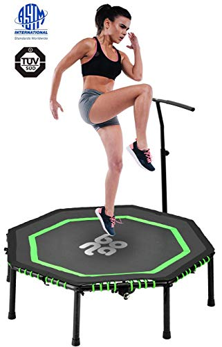 Newbona Rebounders mini Trampolines for Adults With Adjustable Handrail Bar Best Urban Cardio Jump Fitness Workout Trainer – Max Limit 265 Lbs(green)
