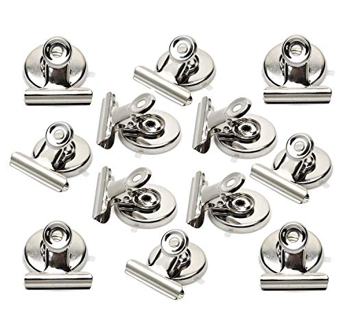 Ninth Five Magnetic Clips Heavy Duty Refrigerator Magnet Clips 31mm Wide Scratch Safe Clip Magnets Best For House Office School Use, Hanging Home Decoration, Photo Displays(12pack)