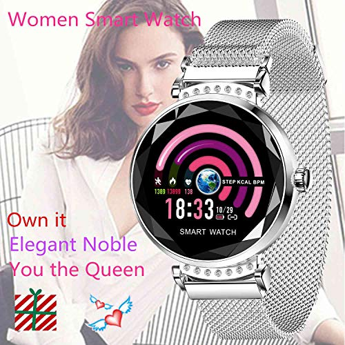 Noble Women Smart Watch Bracelet Fitness Tracker With Blood Pressure Heart Rate Monitor Waterproof Blue Tooth Calorie Pedometer Wristband For Iphone Samsung Lg Etc. Android Phone Best Female Gift