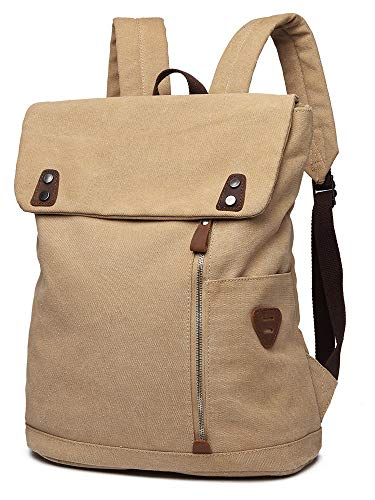Scioltoo Canvas Leather Backpack Vintage Laptop Book Bag Women's Backpack Purse High Best Capacity Casual Traveling Backpack For Men And Women Khaki A Khaki