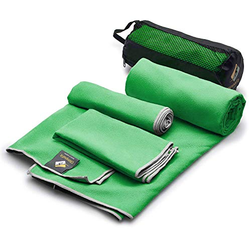 Set Of 3 Microfiber Towels Best For Gym Travel Camp Beach Backpacking Sports Outdoor Swim Quick Dry Fast · Absorbent · Antimicrobial · Compact · Lightweight Men Women Gift Toiletry Bag (green)