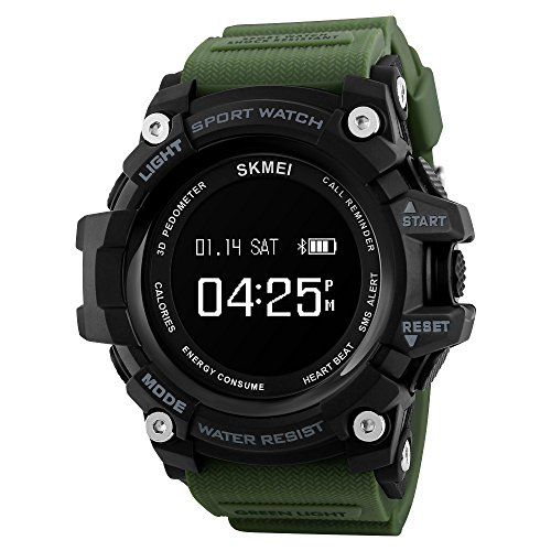 Smart Watch Sports Bluetooth Watch Pedometer Fitness Tracker Wearable Technology Waterproof Remote Camera Running Equipment For Android And Ios Smartphones Best Choice For Men And Boys (army Green)