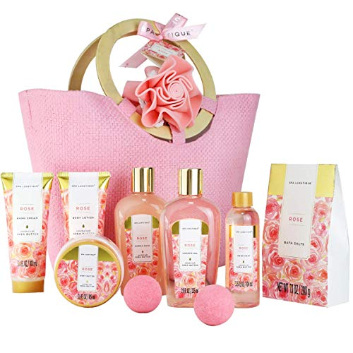 Spa Luxetique Spa Gift Baskets For Women, Rose Bath Spa Gift Basket, Luxury 10pc Spa Gift Set, Pamper Home Bath Set With Bath Salts, Body Lotion, Shower Gel, Body Butter, Best Gift Set For Women.