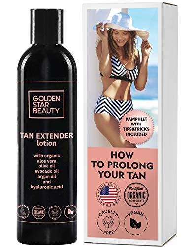 Tan Extender Daily Moisturizer Best After Tanning Lotion W/organic Oils And Hyaluronic Acid To Extend Your Tan From Sunless Tanner, Spray Tan, Sun Or Tanning Bed 8.0 Fl.oz. Free Booklet Included