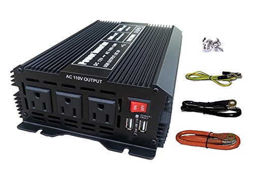 Tektrum 1500w Power Inverter 12v Dc To 110v Ac, 3 Ac Outlets, 2 Usb Ports, Intelligent Cooling Fan, Battery Cables Best For Computer, Laptop, Fan, Tv, Mini Fridge, Window A/c, Smart Phone