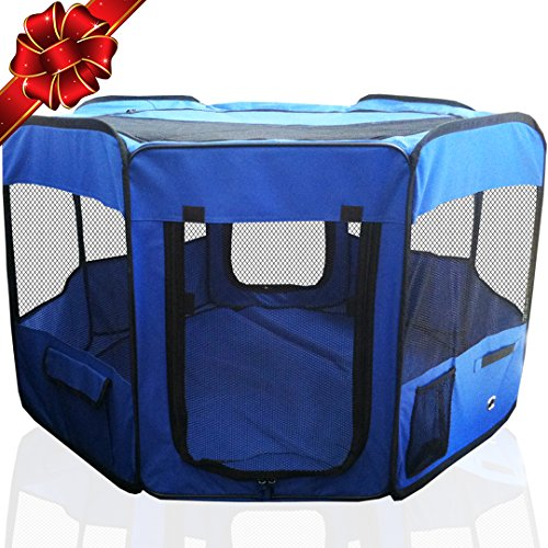 """Toysopoly 45"""" Indoor/outdoor Pet Playpen Cage. Best Exercise Kennel For Your Dog, Cat, Rabbit, Puppy, Hamster Or Guinea Pig. Portable For Easy Travel. (blue)"""