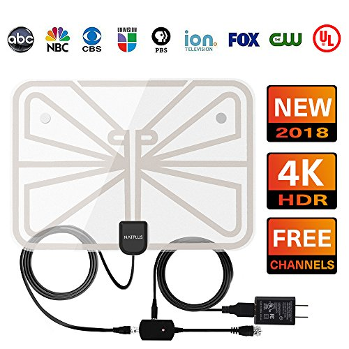 Tv Antenna,2018 Upgrade Digital Tv Antenna Best 50+ Miles Range With Amplifier Signal Booster For Indoor, Ul Usb Power Supply And 16.5ft High Performance Coax Cable 1080p 4k Ready For Fun Transparen