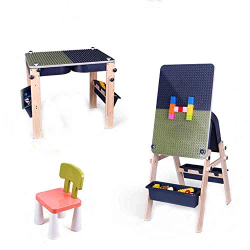 Vbarv Kids Activity Table Set With Artboard, 2 In 1 Children's Multi Functional Building Table,with Storage And Built In Plate, With 1 Stools,for Boys Girls Best Gift For 1 5 Years Old Kids