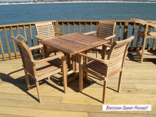 Windsor's Genuine Grade A Teak, Barcelona 35 Square Drop Leaf Table W/4 Casa Blanca Stacking Arm Chairs W Comfortable Contoured Seats, World's Best Outdoor Furniture, Teak Lasts A Lifetime. Assembled