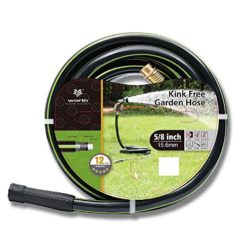 """Worth Garden 5/8"""" X 75' Kink Free Garden Hose Best Water Hose For Household & Professional Durable Commercial Non Kink Use 12 Year Manufacturer Warranty"""