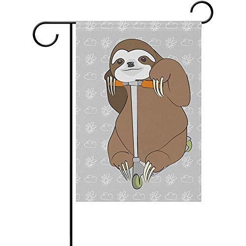 Yunnstrou Smiling Brown Sloth Riding On The Scooter Double Sided Garden Flag Best For Party Yard And Home Outdoor Decor 12x18 Inches