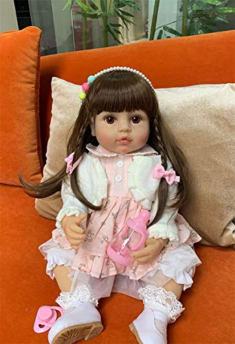 Zero Pam Handmade Realistic Lovely 22inch 55cm Toddler Girl Doll That Looks Like Real Babies Girls Washable Full Vinyl Pink Dolls Best Gift Toy For Bebedaughter
