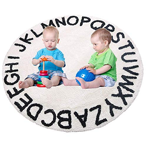 "Abc Kids Rug Alphabet Educational Area Rugs For Infant Toddlers Soft Playtime Collection, Home Decor Teepee Tent Round Play Mat, Best Shower Gift (59"", White Black)"