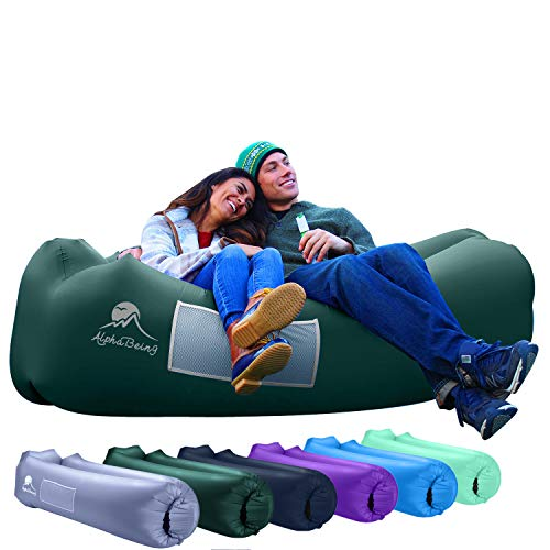 Alphabeing Inflatable Lounger Best Air Lounger For Travelling, Camping, Hiking Ideal Inflatable Couch For Pool And Beach Parties Perfect Air Chair For Picnics Or Festivals (military Green)
