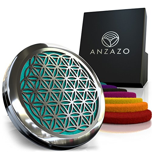 """Anzazo Car Essential Oil Diffuser 1.5"""" Magnetic Locket Set With Air Vent Clip Best For Aromatherapy Fragrance Air Freshener, Scents Diffusers Sacred Geometry Jewelry For Car, Flower Of Life"""