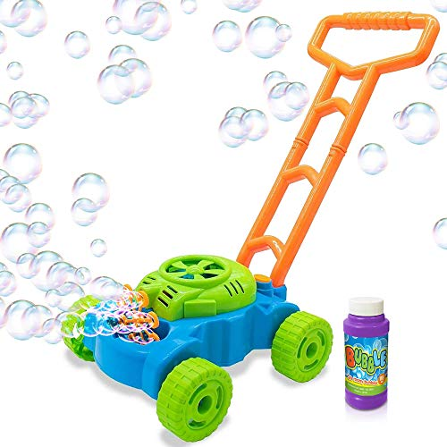 Artcreativity Bubble Lawn Mower Electronic Bubble Blower Machine Fun Bubbles Blowing Push Toys For Kids Bubble Solution Included Best Birthday Gift For Boys, Girls, Toddlers