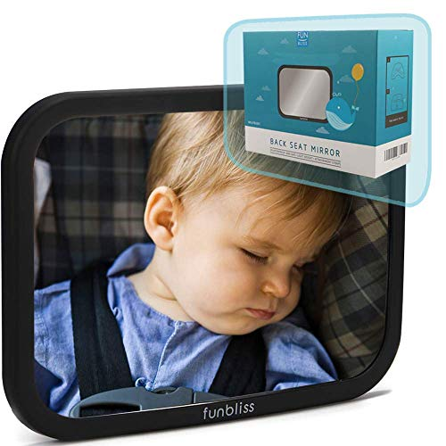 Baby Car Mirror For Back Seat Black Safely Monitor Infant Child In Rear Facing Car Seat,see Children Or Pets In Backseat,best Newborn Car Seat Accessories, Fully Assembled, Shatterproof