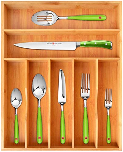 Bamboo Kitchen Drawer Organizer Tray For Flatware Best Cutlery Tray For Silverware And Kitchen Utensils (7 Slots, Natural)
