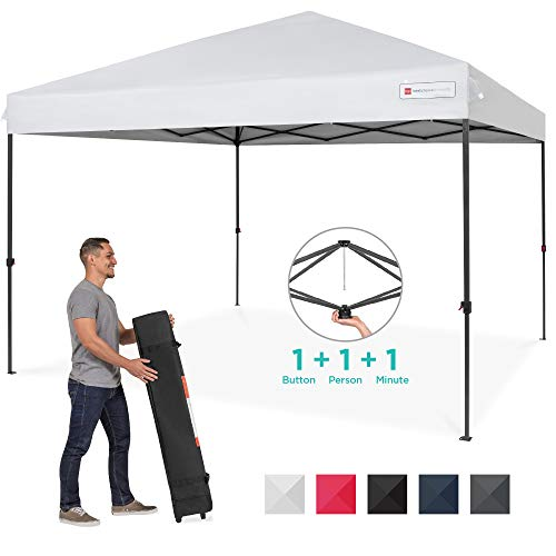 Best Choice Products 10x10ft Easy Setup Pop Up Canopy Instant Portable Tent W/ 1 Button Push, Wheeled Carry Case White
