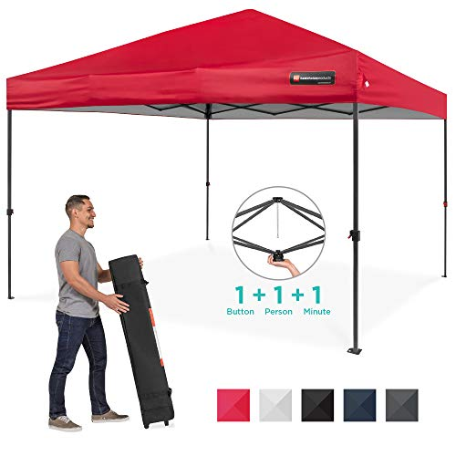 Best Choice Products 10x10ft Easy Setup Pop Up Canopy Instant Portable Tent W/ 1 Button Push, Wheeled Carry Case Red