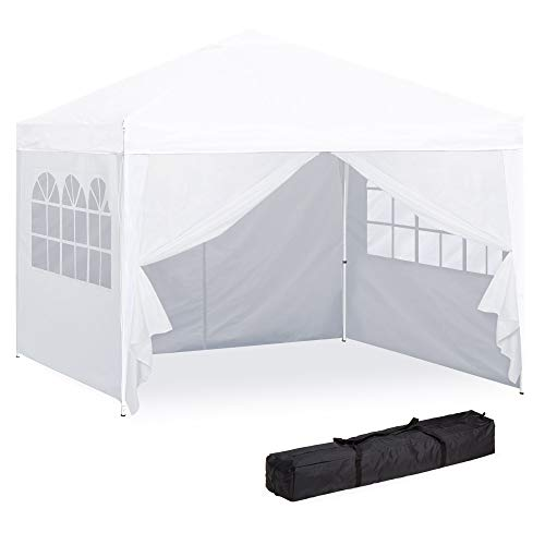 Best Choice Products 10x10ft Portable Pop Up Canopy Tent W/detachable Window Walls, Zip Up Doorway, Carrying Bag White