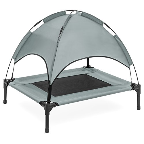 Best Choice Products 30in Raised Mesh Cot Cooling Dog Bed W/removable Canopy Tent, Travel Bag Gray