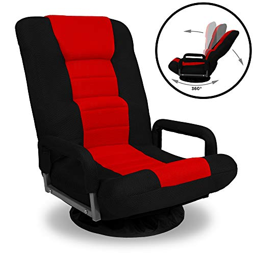 Best Choice Products 360 Degree Swivel Gaming Floor Chair W/armrest Handles, Foldable Adjustable Backrest Red/black