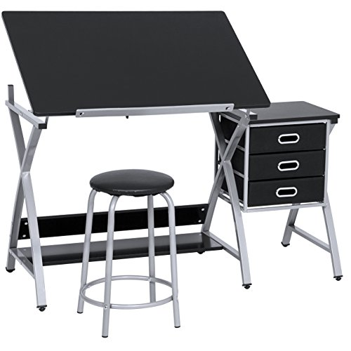 Best Choice Products Adjustable Office Drawing Desk Station Drafting Table Set W/stool Chair Silver/black