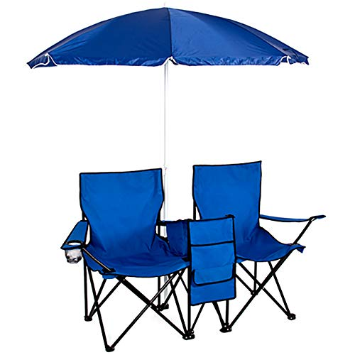 Best Choice Products Portable Folding Double Chair For Beach, Camping, Picnic W/removable Umbrella, Table Cooler