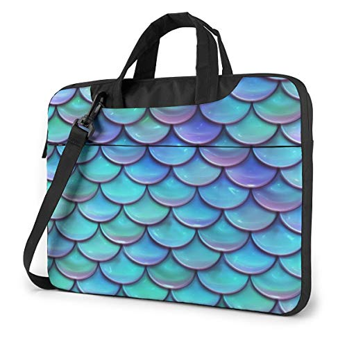 Best Mermaid Scales Laptop Shoulder Messenger Bag, Multi Functional Notebook Sleeve Carrying Case With Strap & Trolley Belt For Lenovo Acer Asus Dell Lenovo Hp Samsung Ultrabook Chromebook 14 Inch