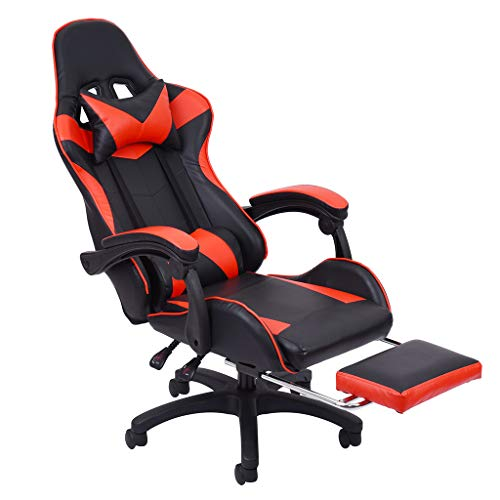 Best Office Pc Gaming Chair Ergonomic,wouke Desk Chair Executive Pu Leather Computer Chair Ergonomic Backrest And Seat Height Adjustment Recliner Swivel Rocker With Headrest And Lumbar (red)