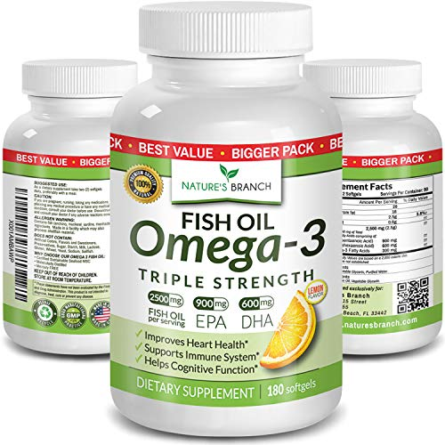 Best Triple Strength Omega 3 Fish Oil Pills 180 Capsules 2500mg High Potency Burpless Lemon Flavor 900mg Epa 600mg Dha Ultra Pure Liquid Softgels For Brain Joints Eyes Heart Health Supplement