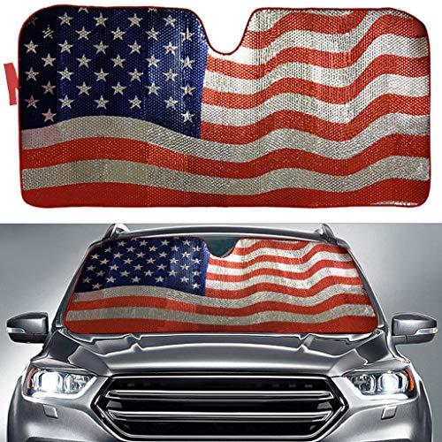 "Big Hippo Sun Shade, Windshield Sun Shade American Flag Sunshades Keep Vehicle Cool Protect Your Car From Sun Heat & Glare Best Uv Ray Visor Protector(size: 63""x 28.5"")"