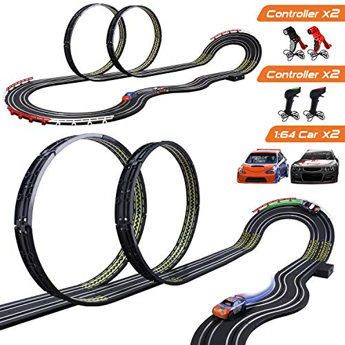 Cusocue High Speed Electric Powered Super Loop Speedway Slot Car Track Set With Two Cars For Dual Racing, Boys Toys For 3 4 5 6 7 8 16 Years Old Kids Best Gifts