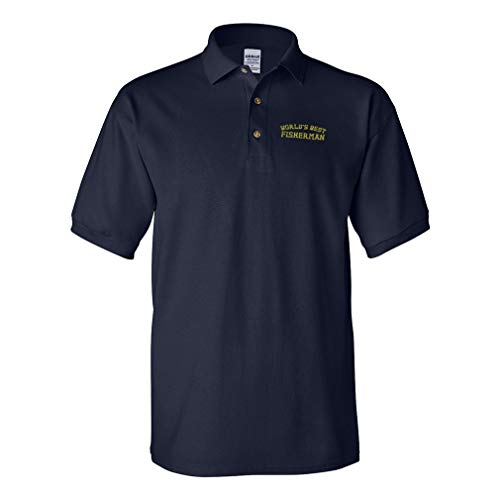 Custom Polo Shirts For Men Worlds Best Fisherman Embroidery Cotton Short Sleeves Golf Tees Navy Design Only Medium
