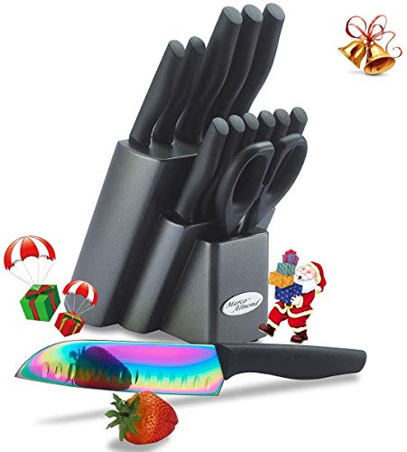 Dishwasher Safe Kya 25 Rainbow Titanium Knife Block Set, Kitchen Knives Set With Block, Kitchen Scissor, Cutlery Knives Set, Best Gift (14 Piece, Rainbow Titanium/black)