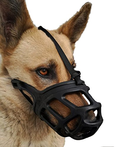 Dog Muzzle, Breathable Basket Muzzles For Small, Medium, Large And X Large Dogs, Stop Biting, Barking And Chewing, Best For Aggressive Dogs (large, Black)