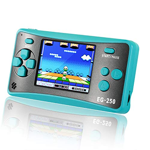 Easegmer Handheld Game Console For Kids Adults, Eg 250 Retro Portable Video Games Console, Built In 200 Games 12 Bit 2.5 Inch Lcd Arcade Gaming Family Games Player, Best Gift For Boys Girls Turquoise