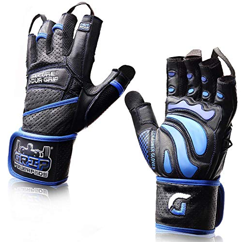 "Elite Leather Gym Gloves With Built In 2"" Wide Wrist Wraps Best Leather Glove Design For Weight Power Lifting Bodybuilding & Strength Training Workout Exercises (blue, X Large)"