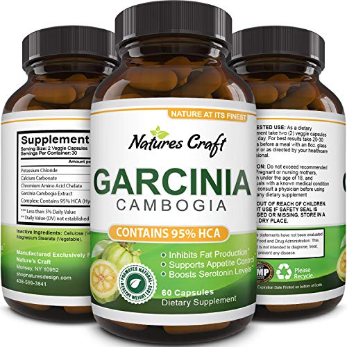 Garcinia Cambogia With 95% Hca Weight Loss Supplement Best Fast Acting Fat Burner And Natural Carb Blocker Diet Pills Pure Garcinia Extract Appetite Suppressant For Men & Women