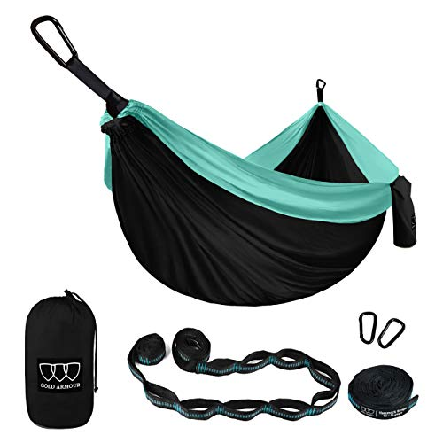Gold Armour Camping Hammock Xl Double Parachute Hammock (2 Tree Straps 16 Loops/10 Ft Included) Usa Brand Lightweight Nylon Mens Womens Kids, Best Camping Accessories Gear (black And Seafoam)